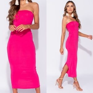 Casey Magenta Strapless Body Con Midi Dress